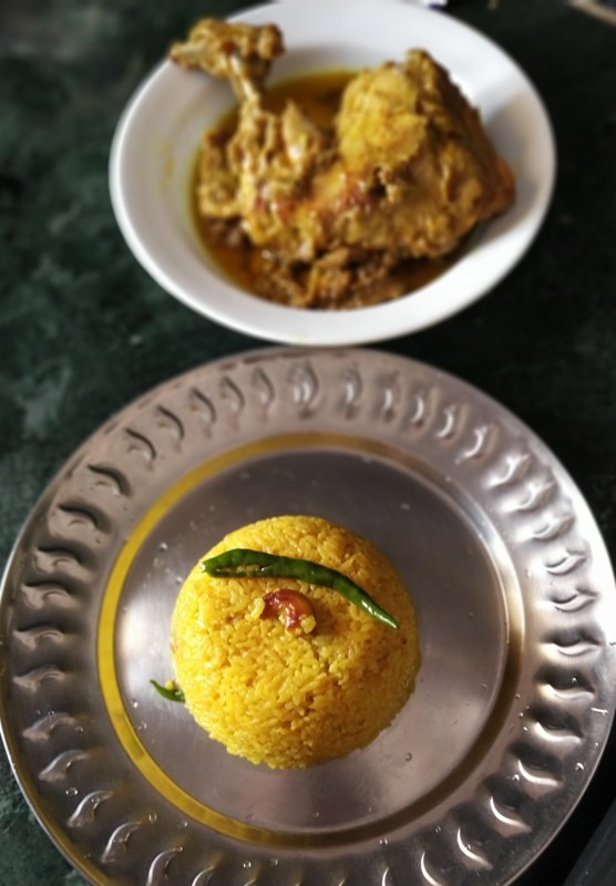 Basanti Pulao served with Chicken Chaap